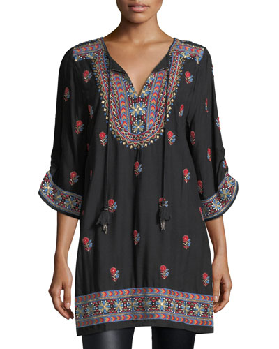 Pooja 3/4-Sleeve Embroidered Tunic, Plus Size