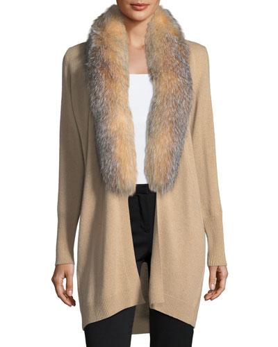 Luxury Oversized Cashmere Cardigan w/ Fox Fur Collar