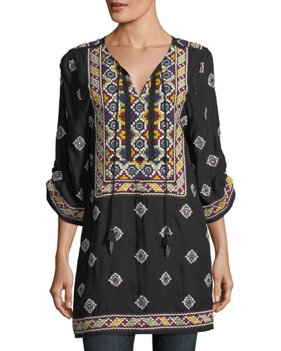 Malti 3/4-Sleeve Embroidered Tunic, Plus Size