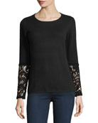 Crochet-Cuff Cashmere Crewneck Sweater