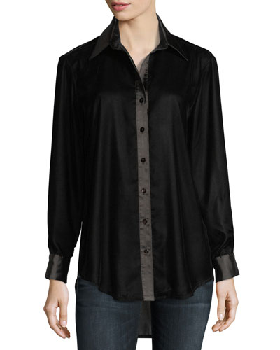Monica Long-Sleeve Velvet Blouse w/ Satin Trim