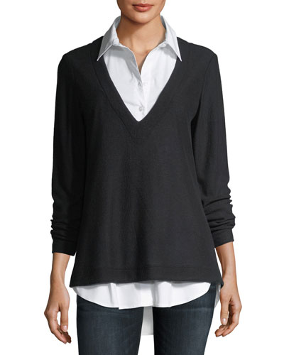 Samantha Shirting & Pullover Combo Top