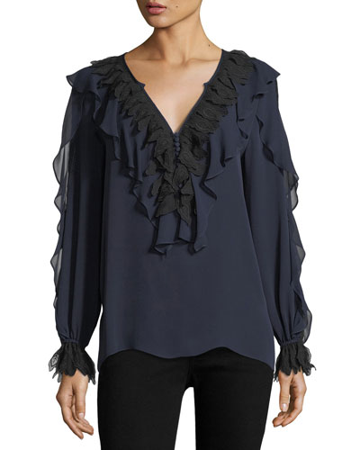 Briley Long-Sleeve Ruffled Silk Blouse