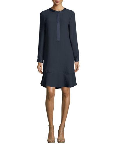 Long Sleeve Satin-Trimmed Jumper  Dress