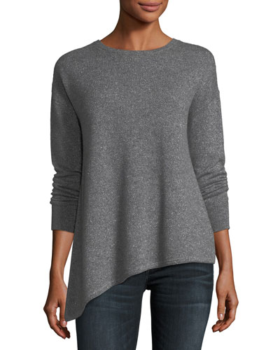 Metallic Cashmere-Blend Asymmetric Crewneck Sweater