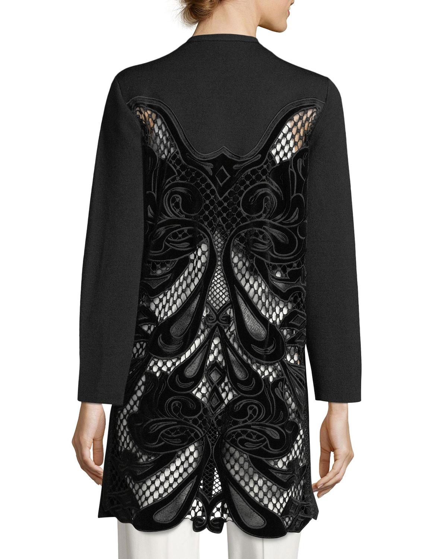 Ashlyn Velvet-Trim Cutout-Back Sweater