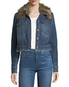 Cropped Button-Front Boyfriend Denim Jacket w/ Faux Fur