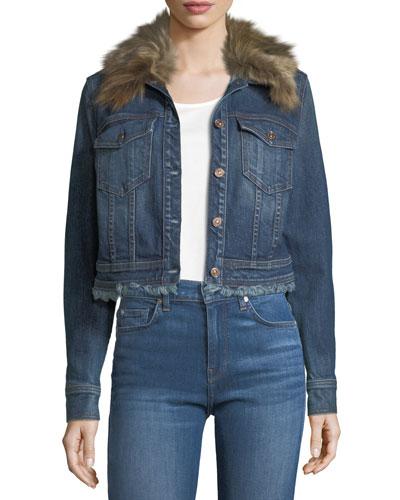 Cropped Button-Front Boyfriend Denim Jacket w/ Faux Fur