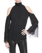 Gianna Lace-Sleeve Silk Blouse