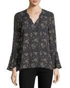 Saphira Long-Sleeve Floral-Print Silk Blouse