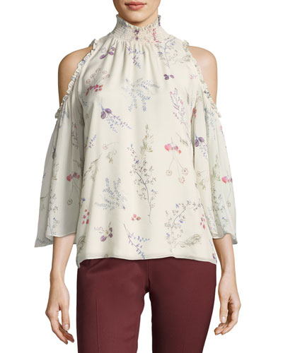 Callahan Cold-Shoulder Floral-Printed Chiffon Blouse