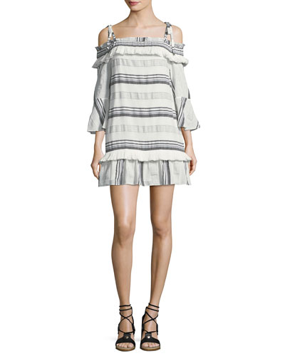 Covie Striped Cold-Shoulder Cotton Dress