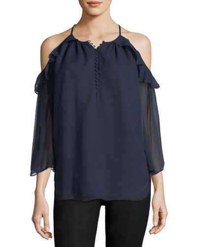 Aurora Cold-Shoulder Silk Blouse