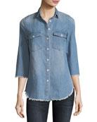 Harleth 3/4-Sleeve Raw-Edge Denim Shirt