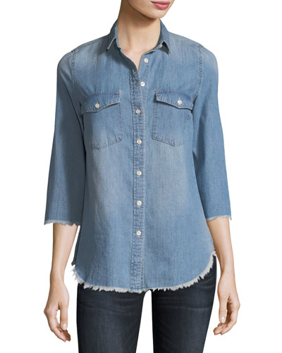 Harleth 3/4-Sleeve Raw-Edge Denim Shirt