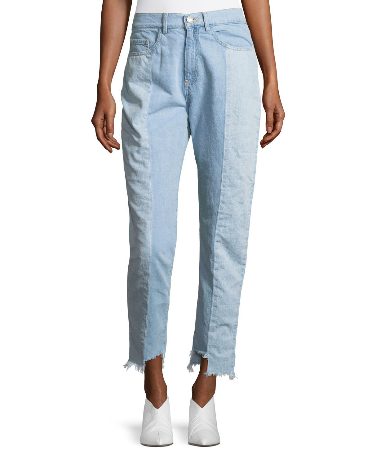 Reily Two-Tone Light-Wash Straight-Leg Jeans