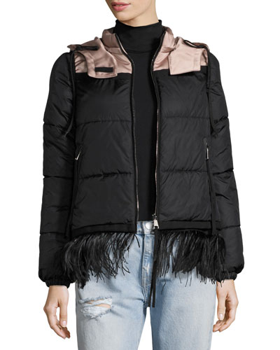 Patri Puffer Jacket w/ Feather Trim