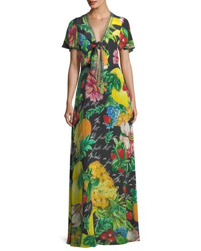 Tie-Front Short-Sleeve Floral-Print Silk Maxi Dress