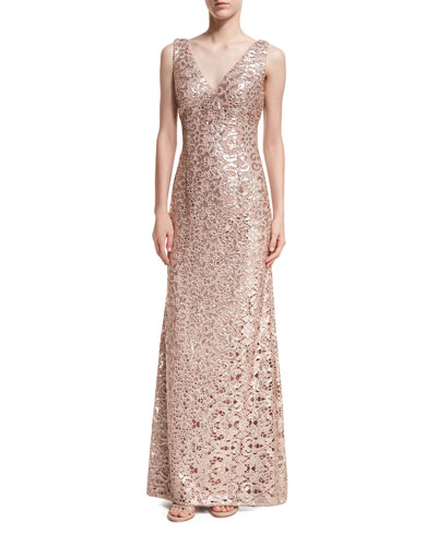 Sleeveless V-Neck Sequin Lace Gown