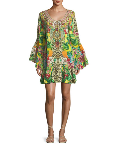 Scoop-Neck A-Line Printed Frill Mini Dress