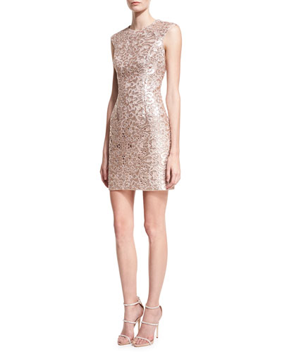Sleeveless Jewel-Neck Lace Cocktail Dress