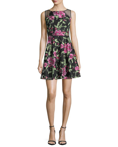Floral-Embroidered Textured Mesh Cocktail Dress