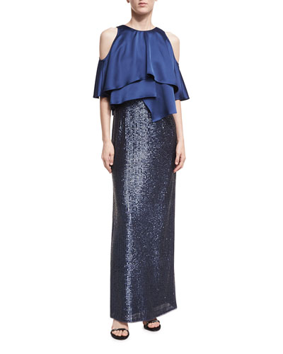 Cold-Shoulder Charmeuse Sequin Combo Gown