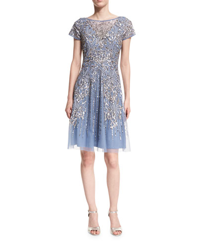 Short-Sleeve Beaded A-Line Cocktail Dress