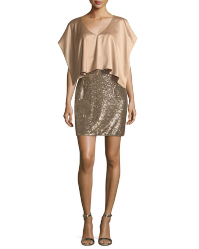V-Neck Satin Sequined Combo Cocktail Dress