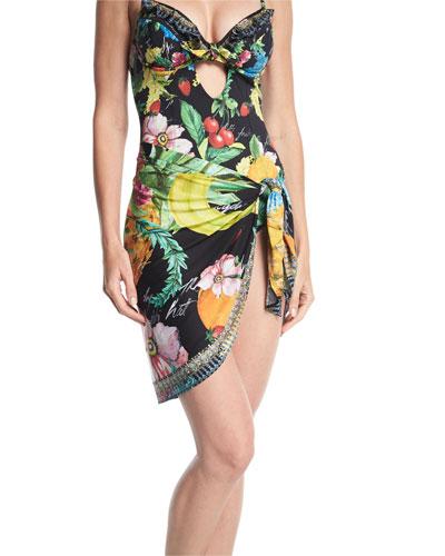 Tropical-Print Short Sarong Swim Coverup