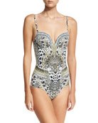 Molded Sweetheart Printed One-Piece Swimsuit