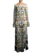Off-the-Shoulder Printed Silk Maxi Dress