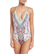 Plunging Halter Crochet Embellished One-Piece Swimsuit