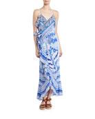 V-Neck Sleeveless Long Printed Wrap Dress w/ Frills