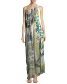 Sleeveless Printed Silk Maxi Dress, One Size