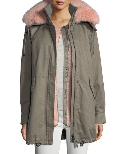 Zip-Front Cotton Utility Parka Jacket w/ Fox Fur Trim