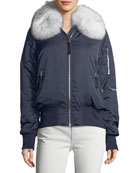 Zip-Front Long-Sleeve Bomber Jacket w/ Fox Fur