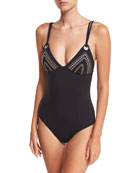 Cabana Coast Maillot One-Piece Swimsuit w/ Embroidery
