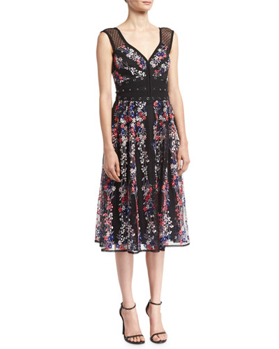 Michelle Floral-Embroidered Studded Cocktail Dress