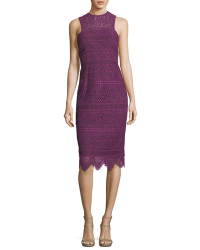 High-Neck Sleeveless Lace Sheath Dress