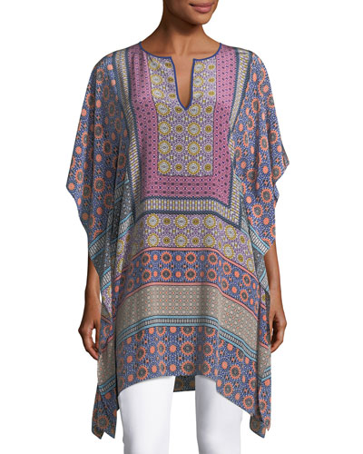 Split-Neck Draped Multi-Printed Kaftan Tunic