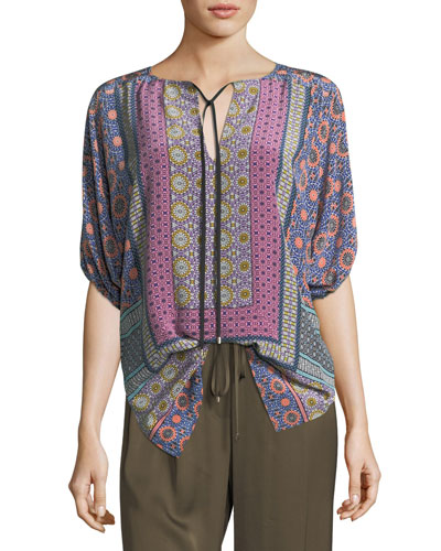 Split-Neck Printed Tunic Top