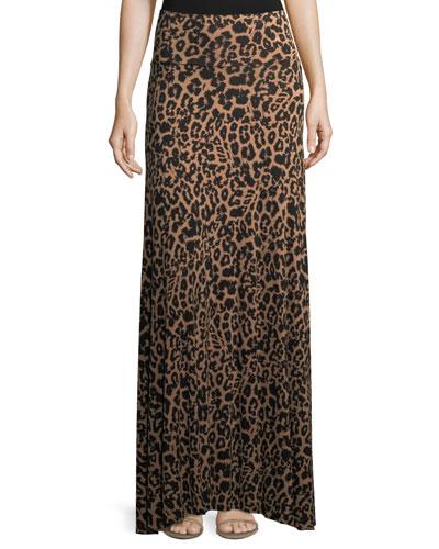 Animal-Print Long Full Convertible Skirt, Plus Size