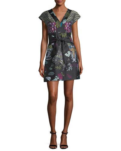 V-Neck Tie-Front Dragon Jacquard Dress