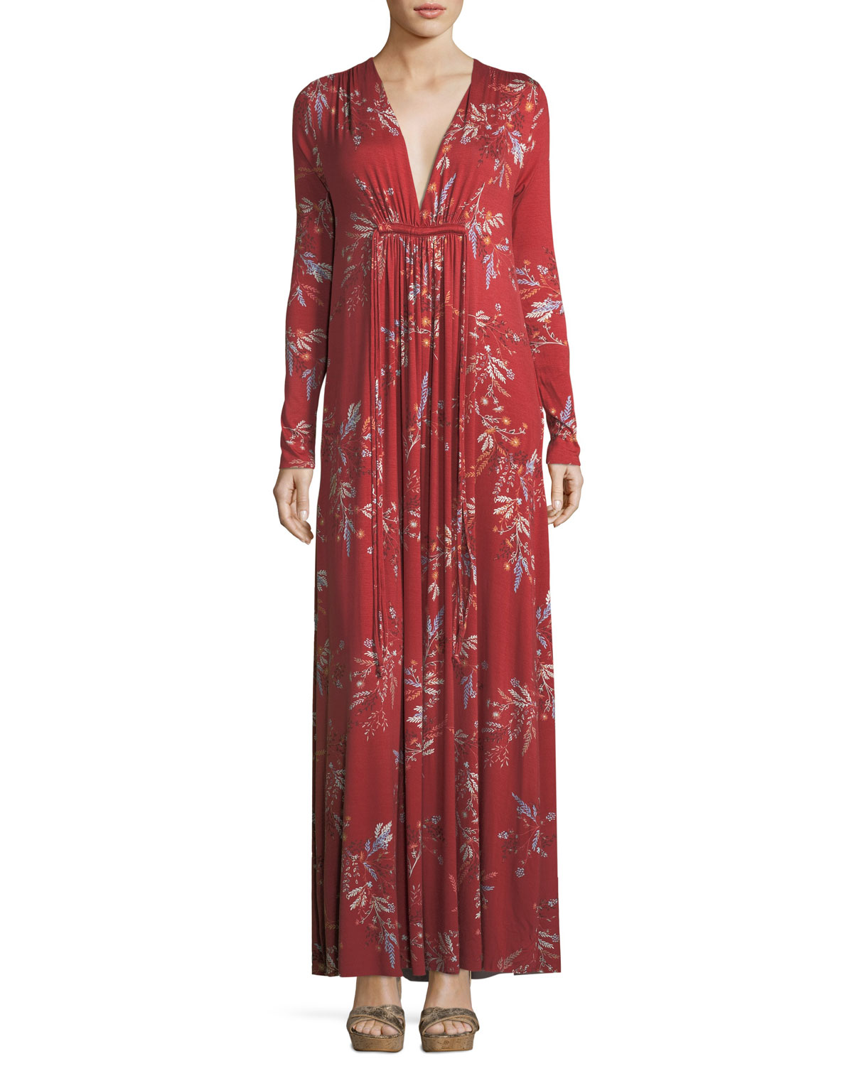 Long-Sleeve Floral-Print Maxi Dress, Plus Size