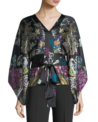 Kimono-Sleeve Abstract Dragon-Print Silk Blouse