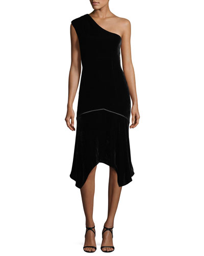 One-Shoulder Velvet Cocktail Dress