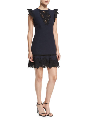 Sleeveless Lace A-Line Mini Dress