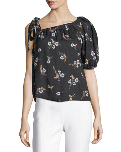 Natalie Floral-Print One-Shoulder Top