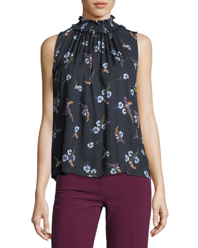 Natalie Sleeveless Floral-Print Silk Top